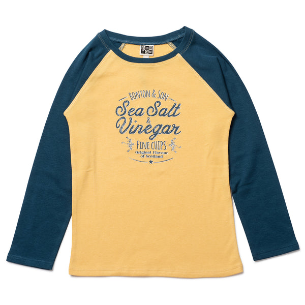 Boys Yellow Cotton Cotton T-Shirt