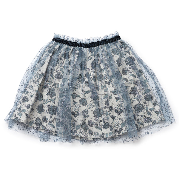 Girls Blue Tulle Paillettes Skirt