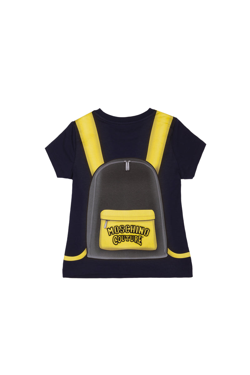 Boys Navy Pattern Cotton T-shirt