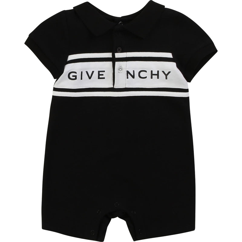 Baby Boys & Girls Black Cotton Babysuit