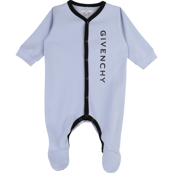 Baby Boys Blue Logo Cotton Babysuit