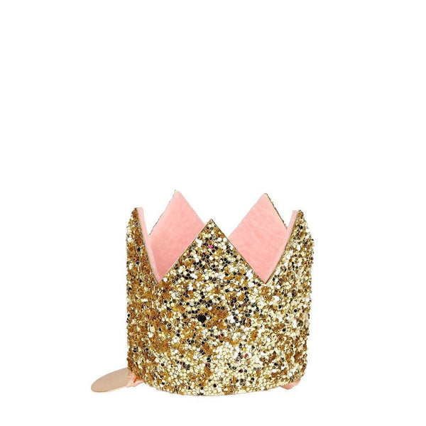 Mini Gold Glitter Crown Hair Clip