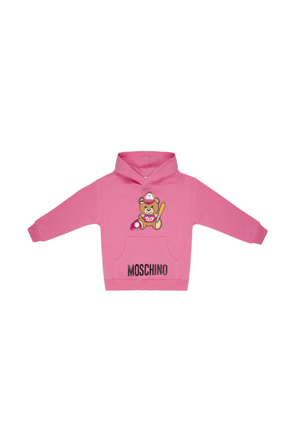 Girls Dark Pink Hooded Cotton Sweatshirt