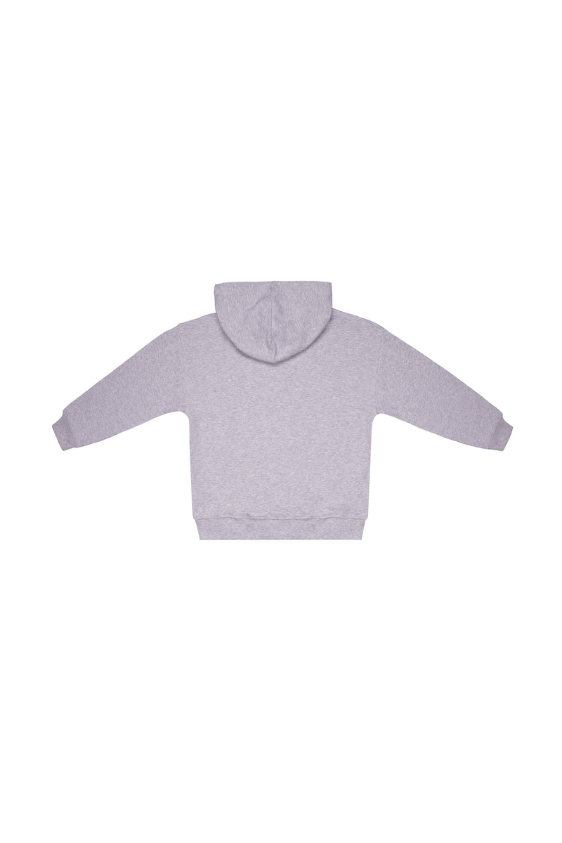Boys & Girls Grey Hooded Cotton Sweatshirt