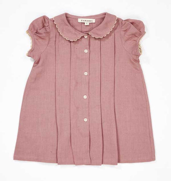 Baby Girls Brick Red Linen Dress