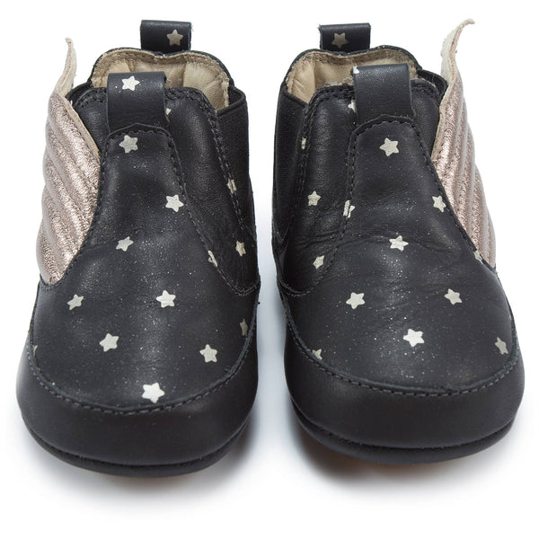 Baby Girls Black Star Leather Shoes