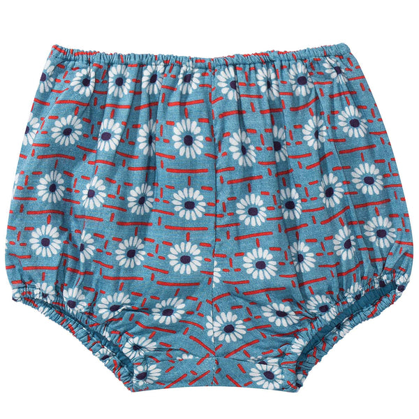 Baby Girls Blue Daisy Printed Shorts