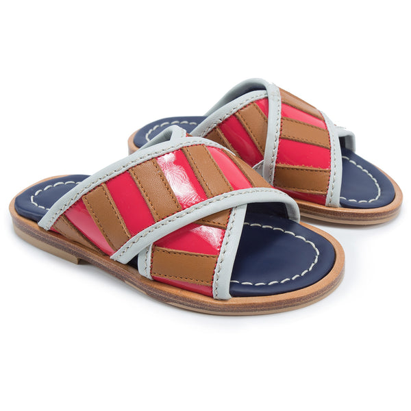 Girls Brown & Pink Leather Sandals