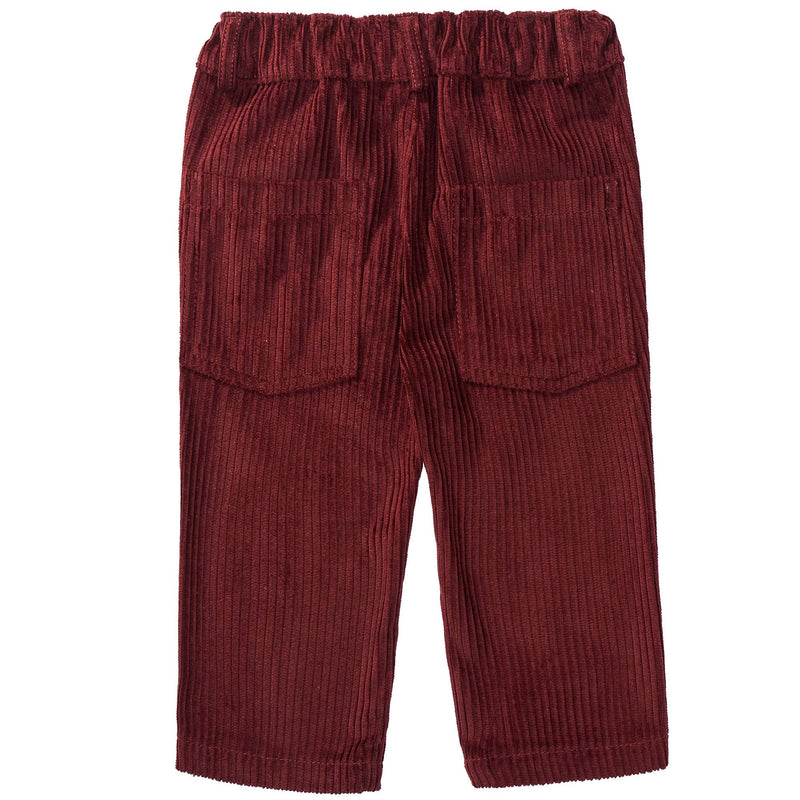 Boys Wine Red Cotton Trousers