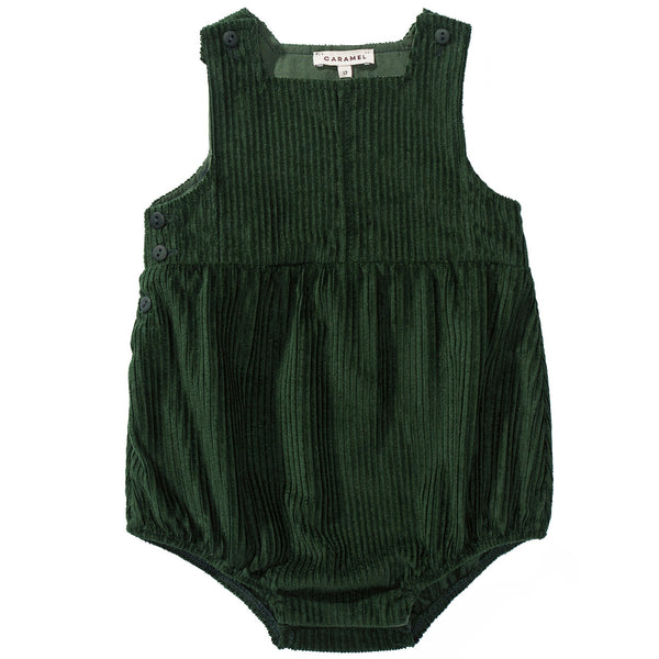 Baby Green Cotton Woven Romper