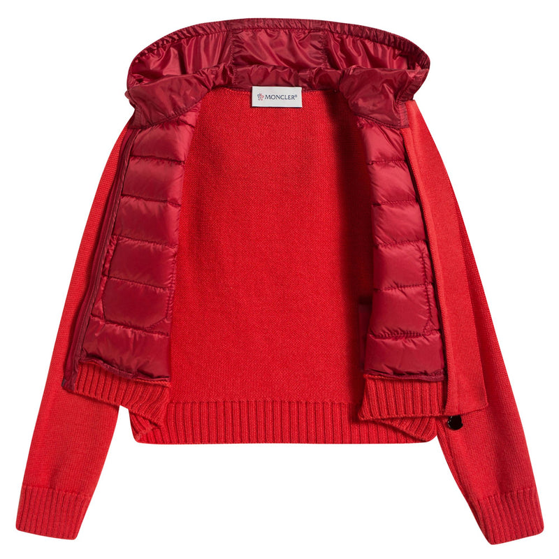 Girls Red Quilted Zip-up Top