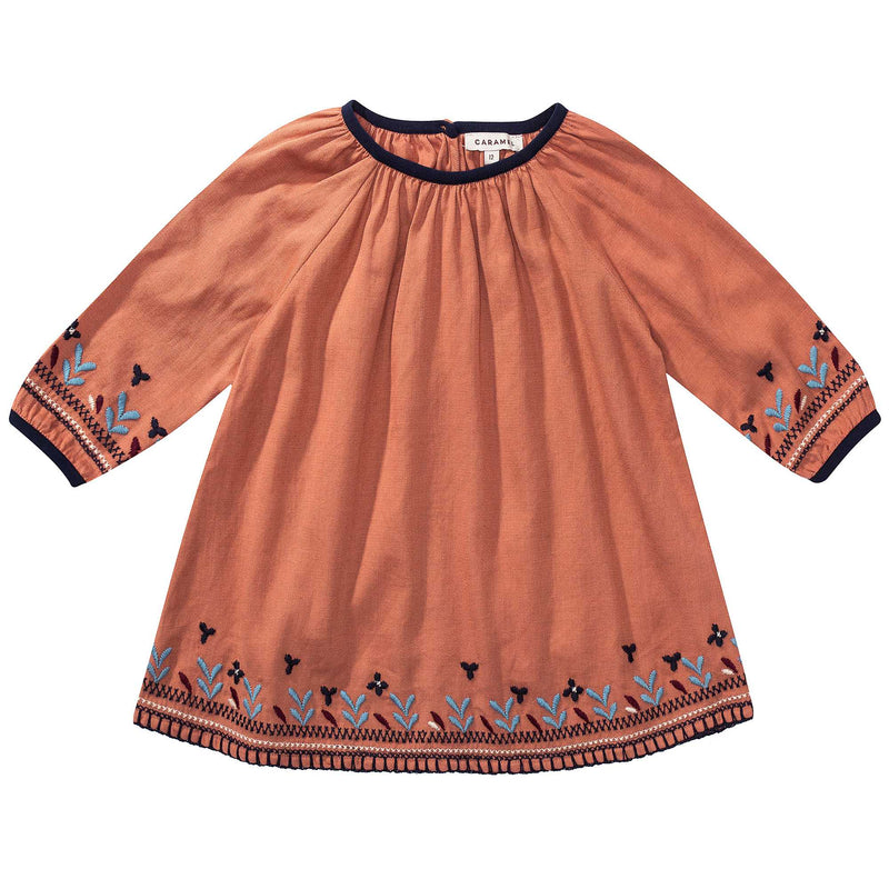 Baby Girls Orange Embroidered Dress