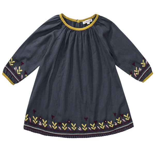 Baby Girls Black Embroidered Dress