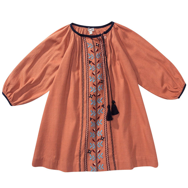 Girls Orange Embroidered Dress