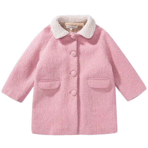 Girls Pale Pink Woven Coat