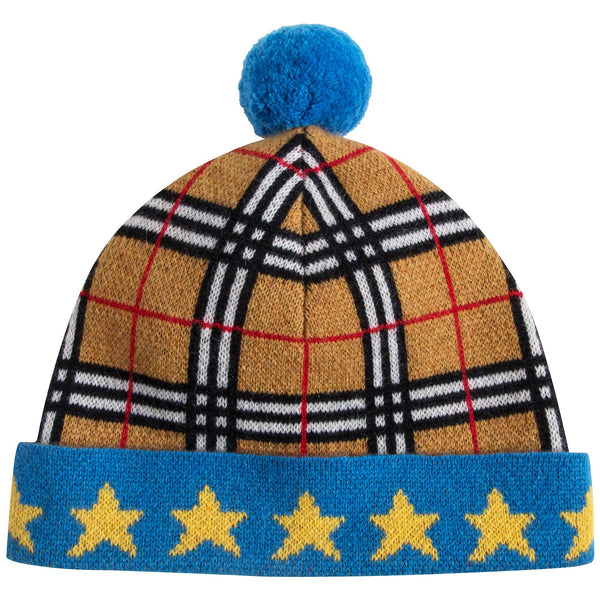 Boys & Girls Yellow Check Cashmere Hat