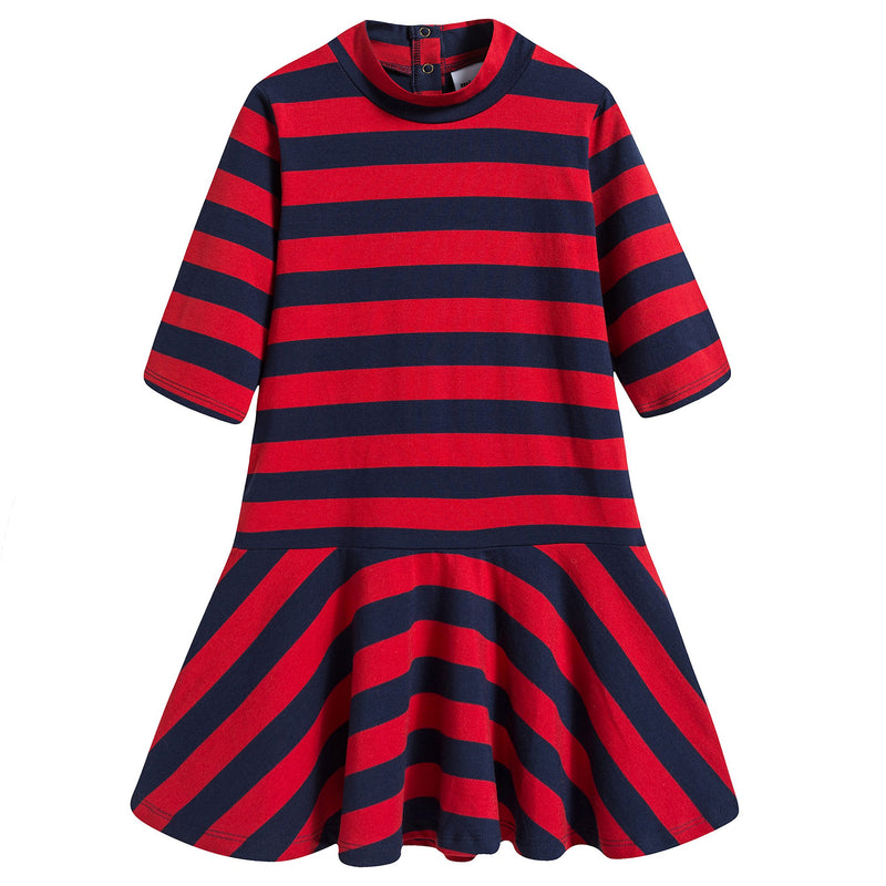 Girls Red & Blue Striped Dress