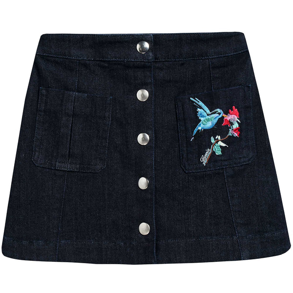 Girls Blue Cotton Embroidery Skirt