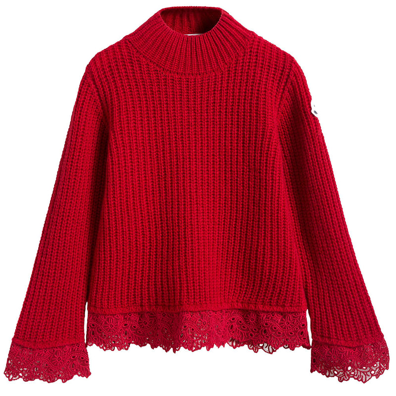 Girls Red Sweater With Lace