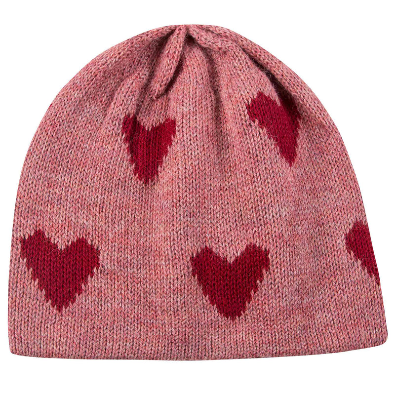 Baby Rose Pink Heart Alpaca Wool Hat