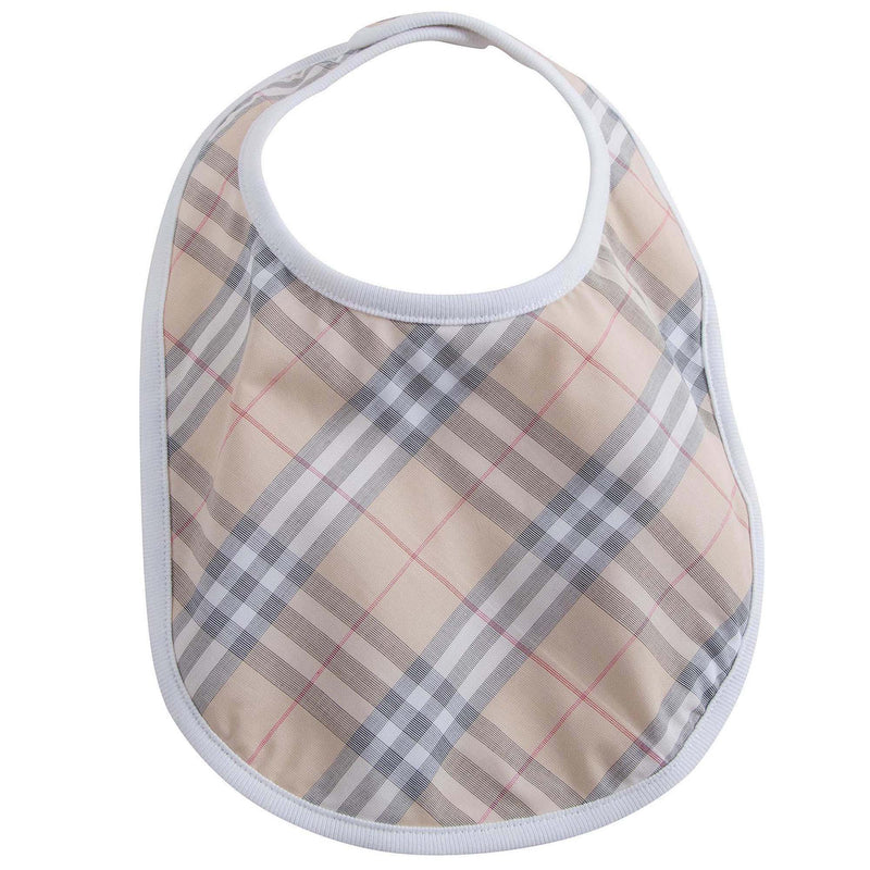 Baby White Check Cotton Three-piece Gift Set With Pocket