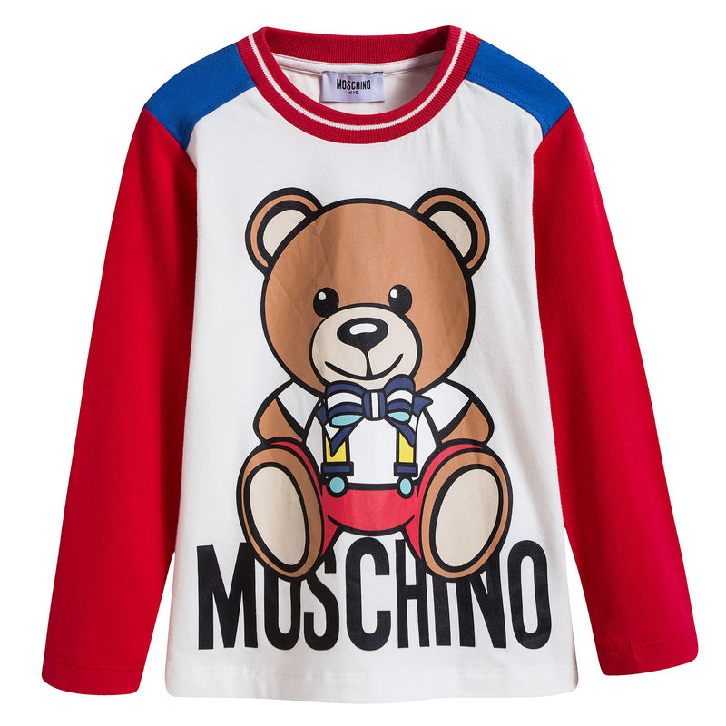 Boys & Girls White Teddy Printed T-shirt