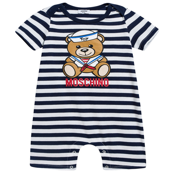 Baby Boys Bloe Stripes Cotton Teddy Bear Babysuit