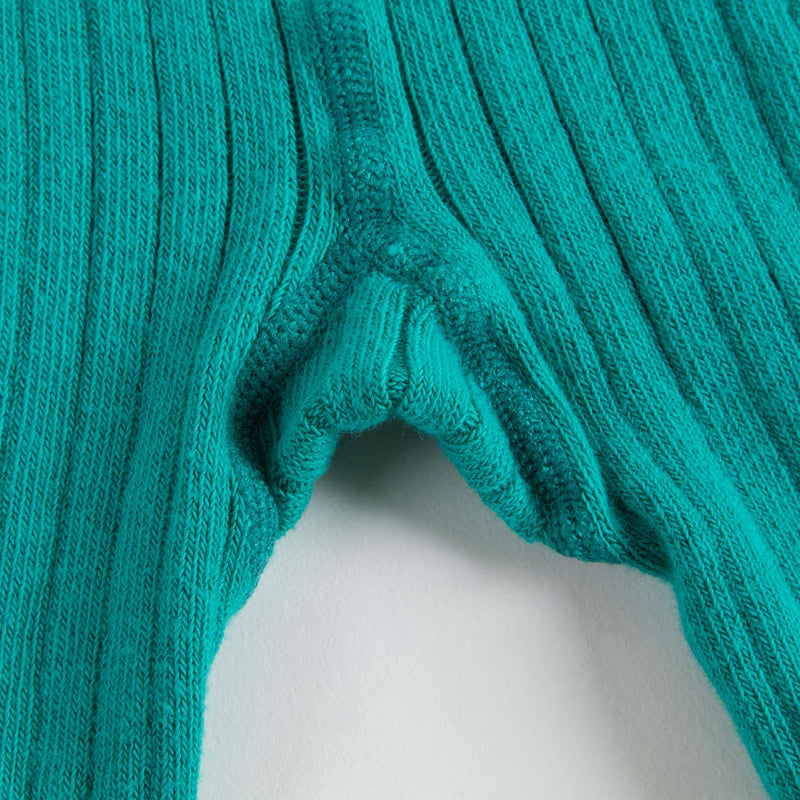 Girls Mint Blue Ribbed Tights