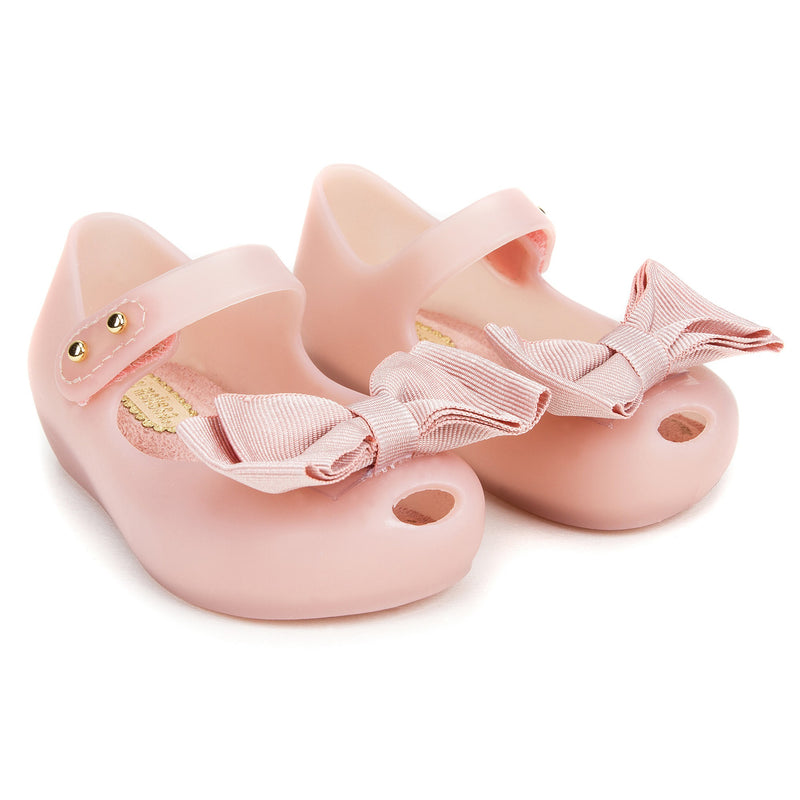 Girls Pink Jelly Shoes with Bow