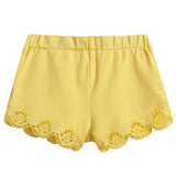 Baby Girls Yellow Cotton Shorts