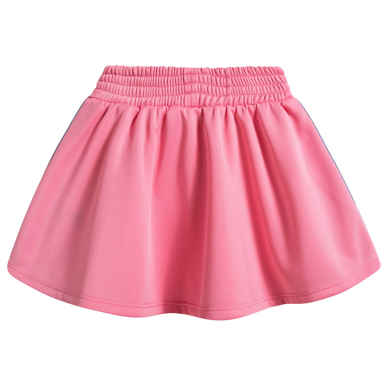 Girls Pink Jersey Skirt With Red Trim