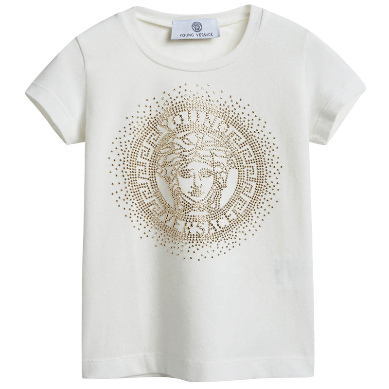 Girls White T-shirt with gold small diamond