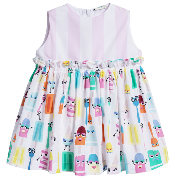 Baby Girls White & Multicolor Printed Dress
