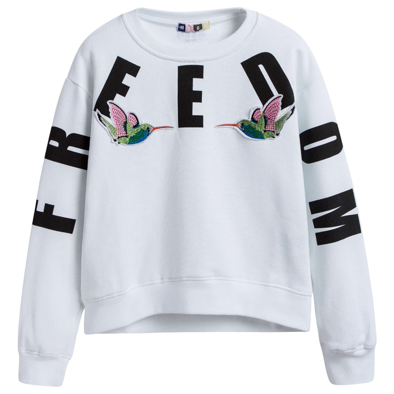 Girls White Embroidered Birds Cotton Sweatshirt