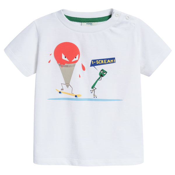 Baby Boys White Printed Cotton Jersey T-shirt