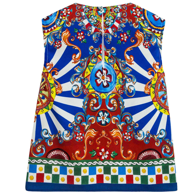 Girls Multicolor Printed Sleeveless T-Shirt
