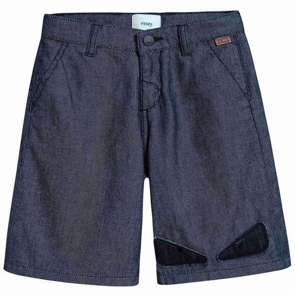 Boys Blue Cotton Bermuda Jeans