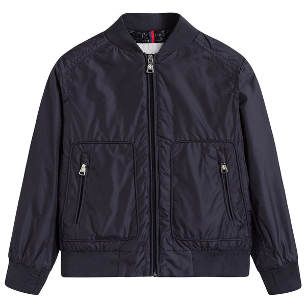 Boys Navy Blue Ribbed Cuffs 'Ferdinand' Jacket With Black Zipper