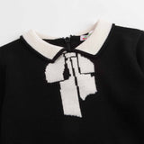 Girls Black & White Wool Sweater - CÉMAROSE | Children's Fashion Store - 3