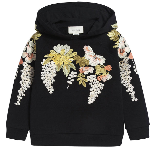 Girls Black Multicolor Sweatshirt