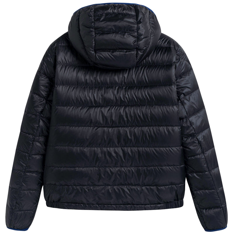 Boys Navy Blue Down Padded Hooded 'Athenes' Jacket With Hidden Pocket
