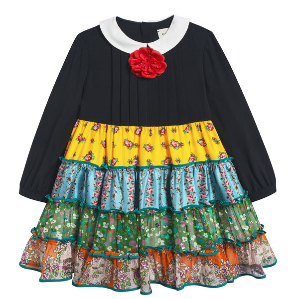 Girls Black Color Printed Dress