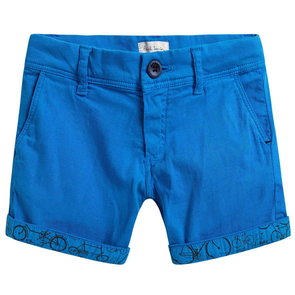 Boys Blue Cotton Printed Cuffs Short