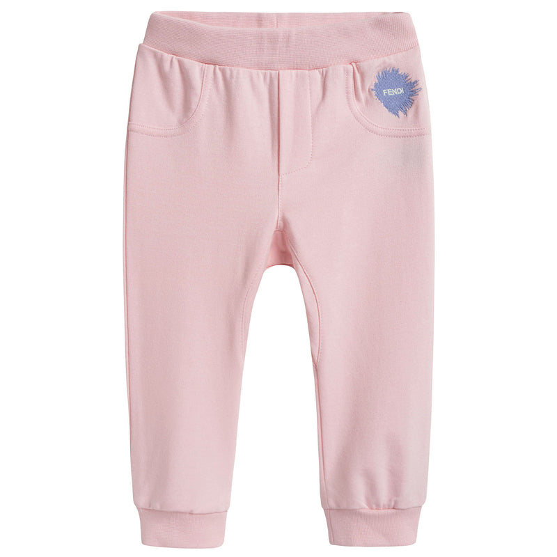 Baby Girls Pink Cotton Trousers With Brand Logo Print
