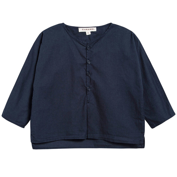 Baby Boys Navy Blue Cotton Woven T-shirt