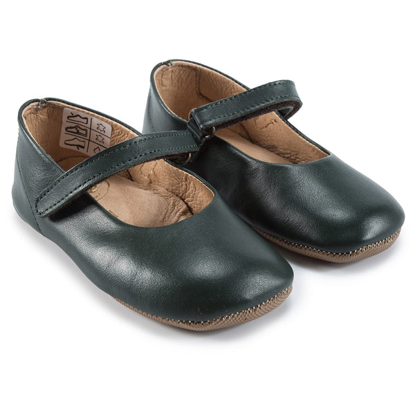 Girls Green Velcro Flats