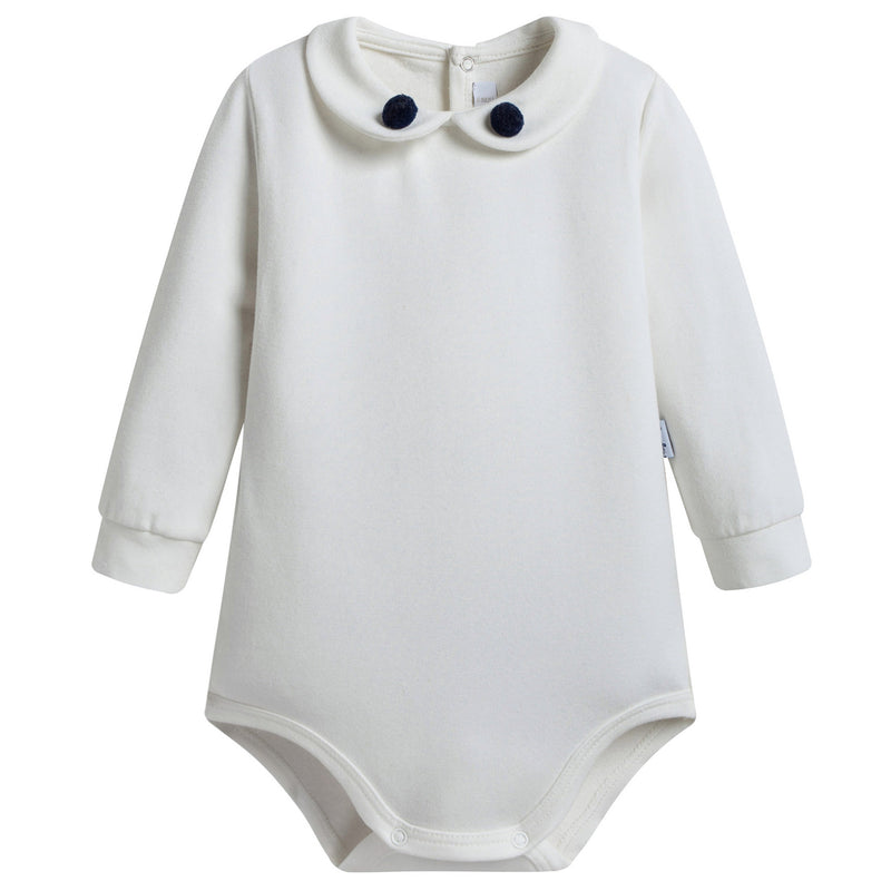 Baby Ivory Cotton Babysuit With Pom-Pom Trims
