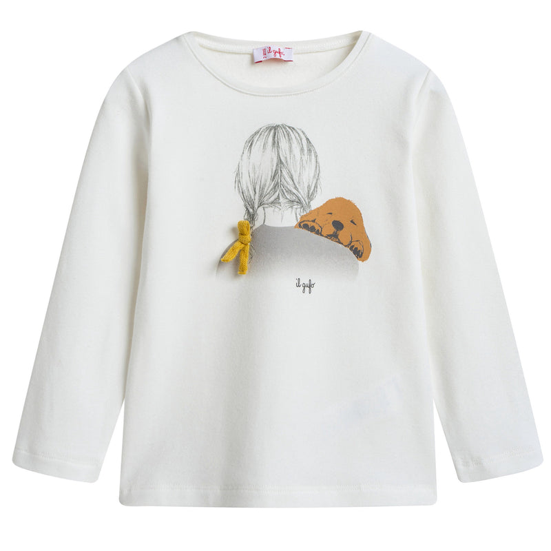 Girls Ivory Cotton T-shirt with Yellow Bow