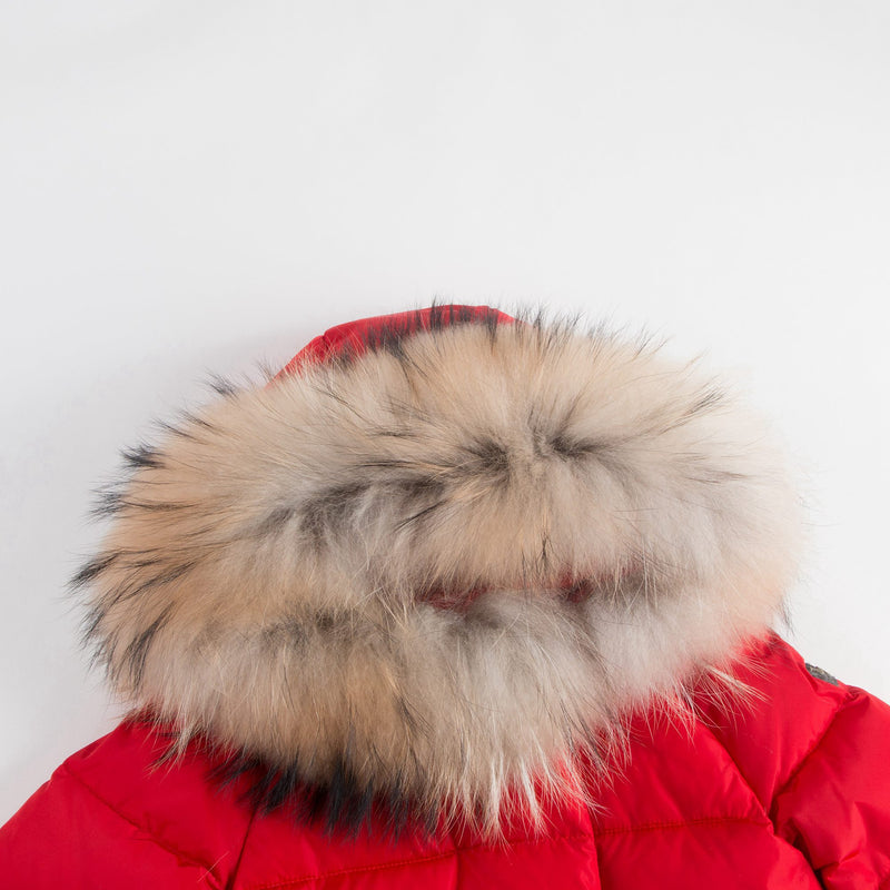 Girls Red Down Padded Coat With Fur