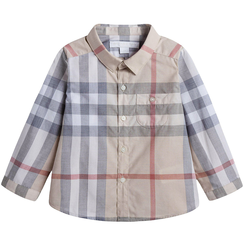 Baby Beige Check Cotton Shirt